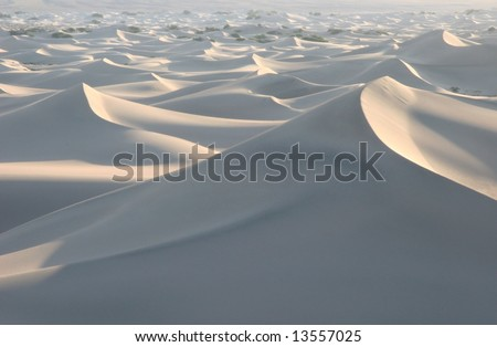 Endless white sand dunes in famous natural landmark Death Valley national park. California. USA