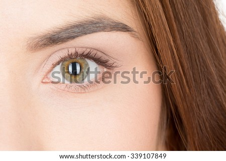 Endlessness. Closeup shot of an eye of a young dark haired woman  - stock photo