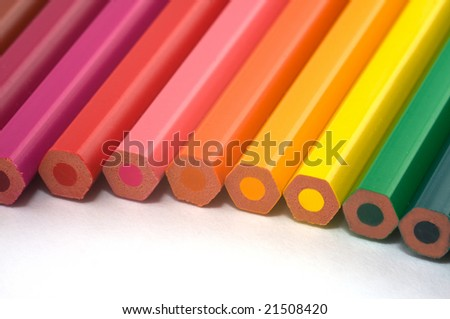 ends of color pencils - stock photo