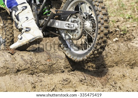 Enduro racer on the track  - stock photo