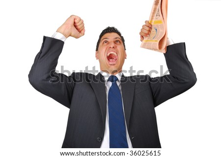 energetic businessman with his arms raised - stock photo