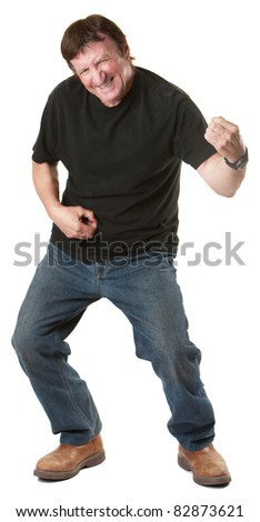 Energetic mature Caucasian man gestures to play guitar - stock photo