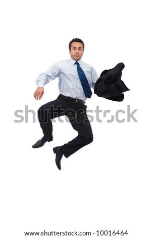 energic businessman jumping high on white background - stock photo