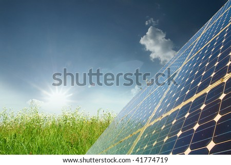 Energy and meadow - stock photo