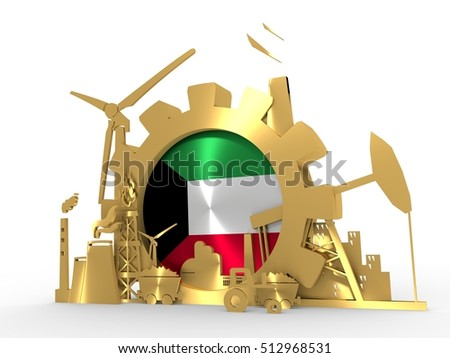 Energy and Power icons set with Kuwait flag. Sustainable energy generation and heavy industry. 3D rendering. Golden material