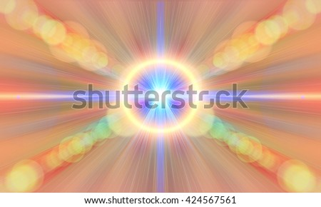 Energy, aura, chakra, meditation. Seamless abstract blur background pattern. Light blue abstract wallpaper background. Horizon lights. Flash - rays of light in the space of the sky. Radiance of light. - stock photo