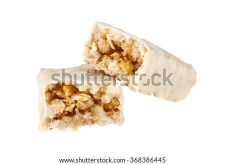 Energy bar in yogurt isolated on white background - stock photo