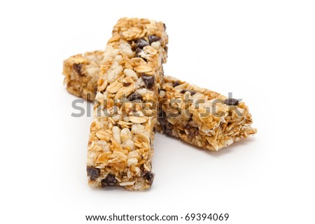 Energy bar with white background close up