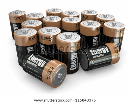 Energy batteries on white backround. Three-dimensional image. 3d - stock photo