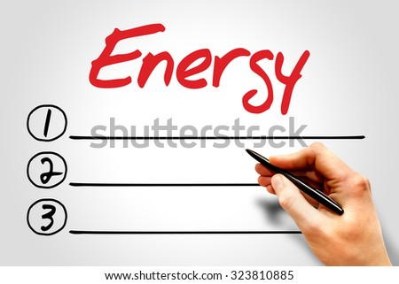 Energy blank list, environmental concept - stock photo