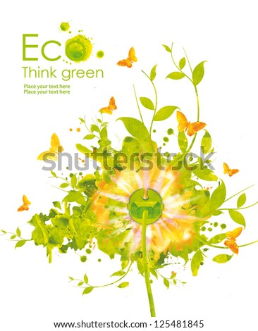 Energy concept.Illustratio n environmentally friendly planet. Green socket, grass, butterfly and splash of paint,from watercolor stains,isolated on a white background. Think Green. Ecology Concept. - stock photo