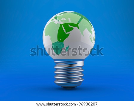 Energy concept, light bulb with planet earth on a blue background