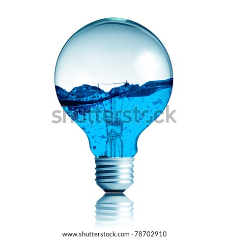 Energy concept. Light bulb with water in side isolated on white - stock photo