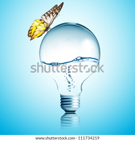 Energy concept. Light bulb with water inside and butterfly - stock photo
