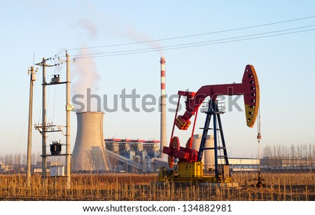 Energy concept.Thermal power plant and pumping unit - stock photo