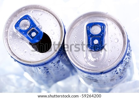 Energy drink closeup on top view - stock photo