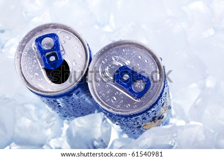 Energy drink in ice! Top view - stock photo