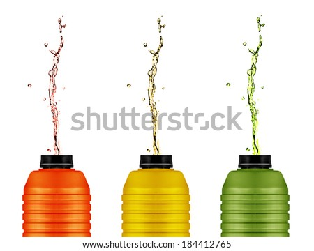 energy drinks cans,  reusable water and energy bottle on white . (with clipping work path) - stock photo