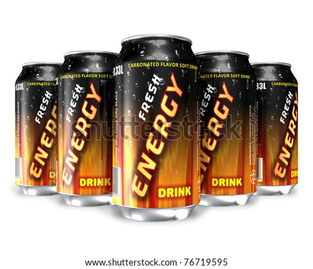 Energy drinks in metal cans