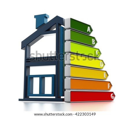 Energy efficiency chart with half illustration of a house. 3D illustration. - stock photo