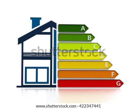 Energy efficiency chart with half illustration of a house. 3D illustration - stock photo