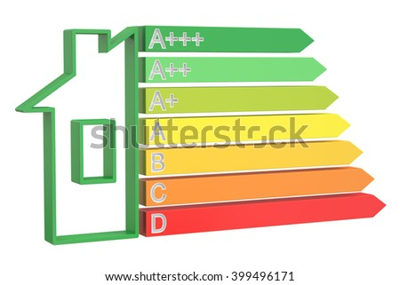 Energy efficiency chart with home concept, 3D rendering - stock photo