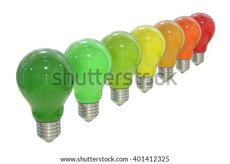 Energy efficiency chart with lamps concept, 3D rendering isolated on white background