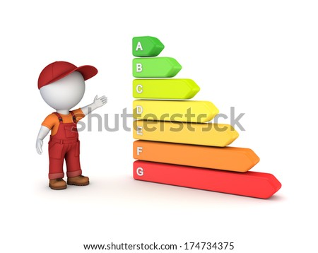 Energy efficiency concept.Isolated on white.3d rendered. - stock photo