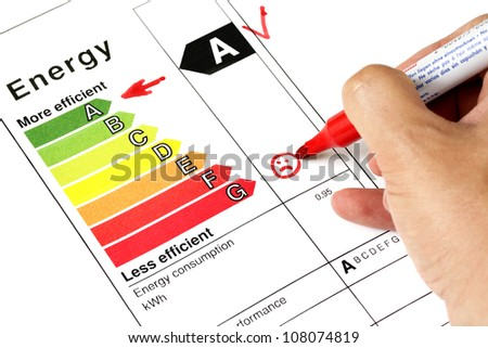 Energy efficiency concept with energy rating chart - stock photo