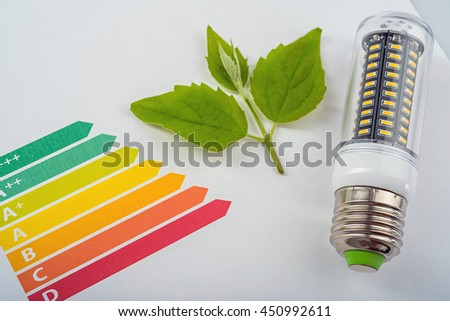 Energy efficiency concept with energy rating chart and LED lamp - stock photo
