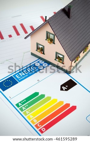 Energy efficiency concept with house model and documents on desk