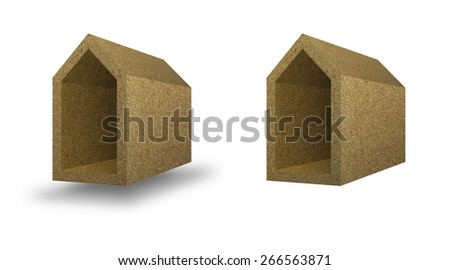 Energy Efficiency: home concept thermally insulated with walls cork - stock photo