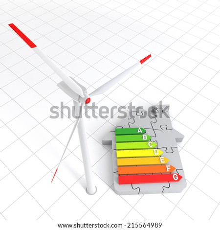 Energy Efficiency Home Puzzle and Wind Turbine. Digitally Generated Image.