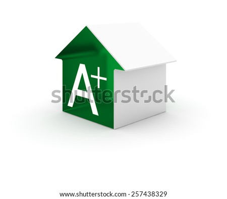 Energy efficiency in the home: three dimensional conceptual icon, isolated on white. - stock photo