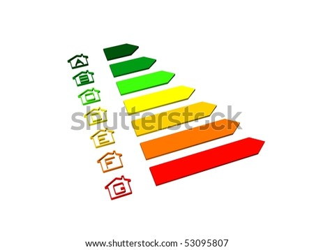energy efficiency rating certification system - stock photo