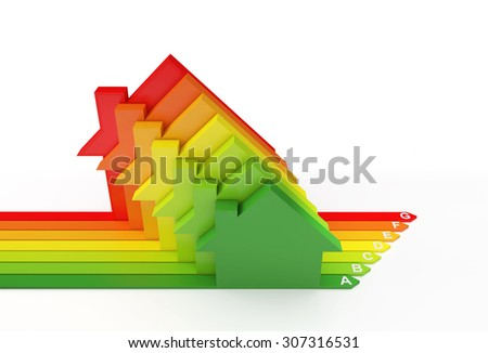 Energy Efficiency Rating , Isolated on white , Copy space , 3d Render - stock photo