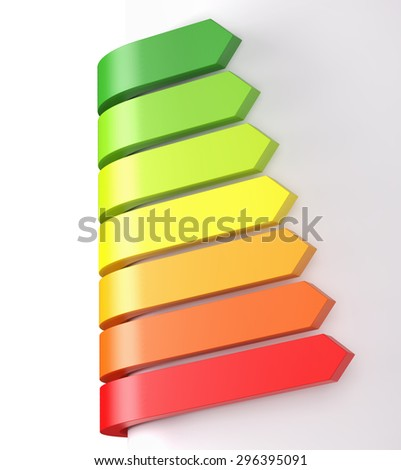 Energy Efficiency Rating, Isolated on white, 3d Render - stock photo