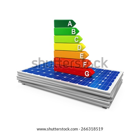 Energy Efficiency Rating on Solar Panel - stock photo