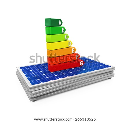 Energy Efficiency Rating on Solar Panel - stock photo