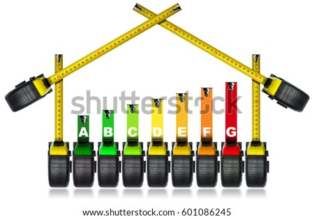 Energy Efficiency Rating - Symbol with tape measures (work tools)in the shape of a house. Isolated on white background