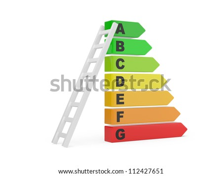 Energy efficiency rating with ladder on a white background. 3d illustration - stock photo