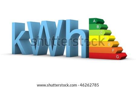 Energy efficiency scale with  seven colors and kilowatt word on a white background. Part of a series. - stock photo
