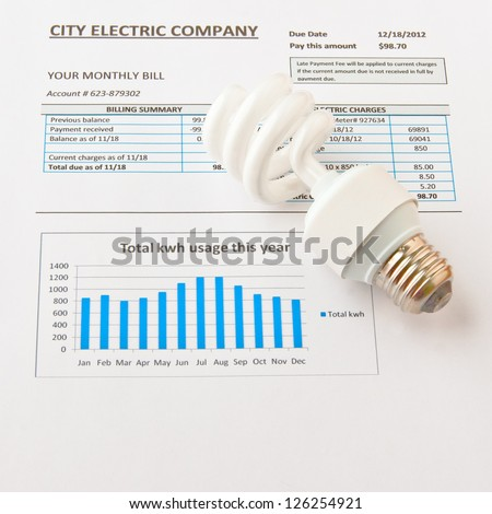 Energy efficient CFL bulb on electric bill. Energy efficient house concept. - stock photo