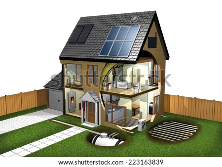 Energy Efficient House and Garden - stock photo