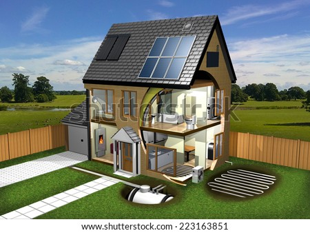 Energy Efficient House, Garden and Background - stock photo