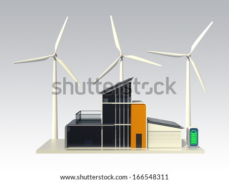 Energy efficient house support by solar panel, wind power system. 3D rendering with clipping path - stock photo