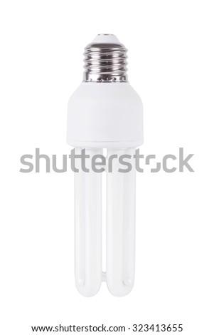 Energy efficient light bulb isolated on white background - stock photo