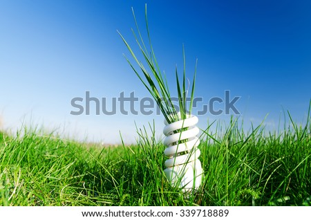 Energy-efficient spiral bulb in green grass - stock photo