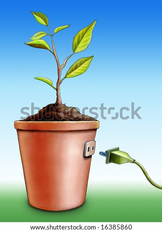 Energy from a growing plant. Mixed media illustration. - stock photo