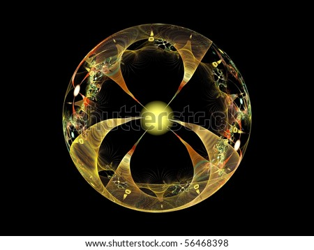 Energy globe - fractal image representing a sphere with rays converging in the center - stock photo